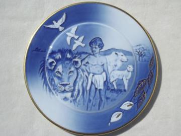 B&G blue & white Christmas  plate, vintage 1988 Peace On Earth lion & the lamb