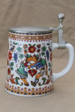 BMF biersiedel beer stein w/ pewter cover, folk art couple in German costume