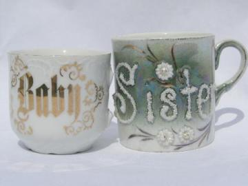Baby Sister, shabby antique Germany motto china cups for flowers etc.