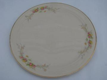 Bakerite - Harker pottery, vintage 1940s china cake plate plateau, pink & yellow roses