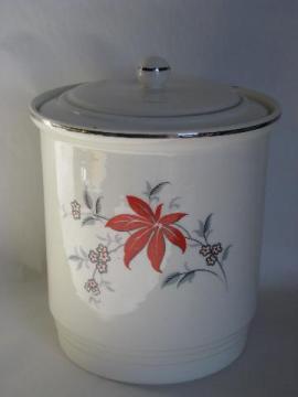Bakerite pottery kitchen ware, vintage red/grey leaf pattern Harker cookie jar