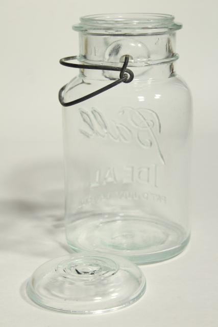 Ball Ideal Mason jar w/ 1908 patent date, antique vintage bail glass lid canning jar