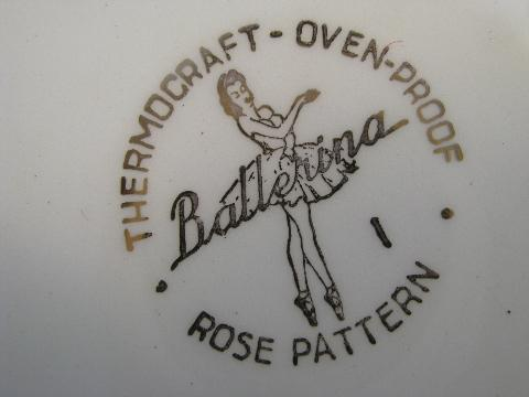 Ballerina Rose vintage Universal pottery dishes, floral china bowls