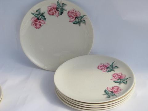 & Ballerina Rose vintage Universal pottery dishes floral china plates