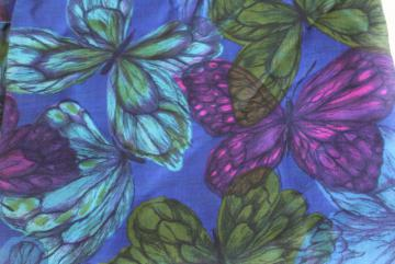 Bates vintage cotton sateen fabric, butterfly print in green purple indigo blue