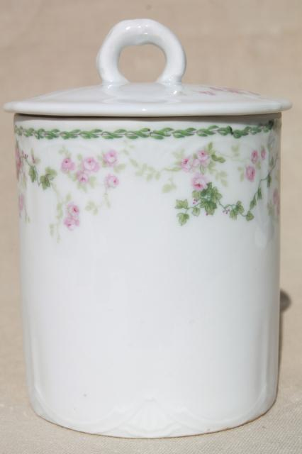 Bavaria china canister jar for sweetened condensed milk, antique pink roses porcelain