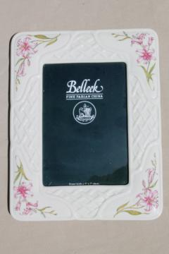 Belleek parian china 5 x 7 picture / photo frame Country Trellis lily floral