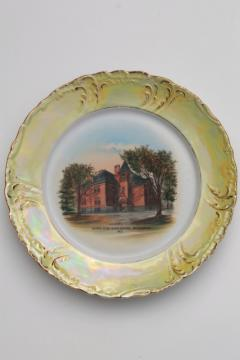 Belvidere Illinois antique china souvenir plate, old high school architectural landmark
