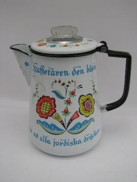 Berggren rosemaled Swedish Rooster vintage enamel coffee percolator