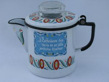 Berggren rosemaled design vintage enamel 2 cup pot w/ coffee motto