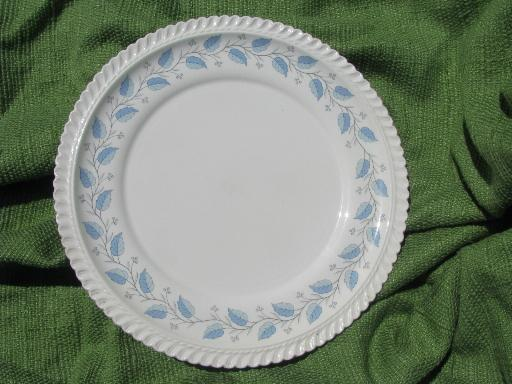 Bermuda blue leaf pattern Harker ware china, vintage platter and plates