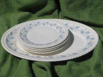 Bermuda blue leaf pattern Harker ware china, vintage platter and plates