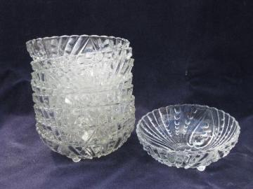 Berwick bubble pattern vintage Anchor Hocking glass fruit or berry bowls, set of 8