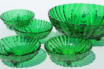 Berwick burple bubble pattern vintage Anchor Hocking forest green glass berry bowls set