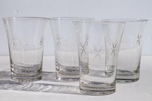 Bethlehem Star Six Point Stars Vintage Etched Glass