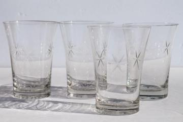 Bethlehem star six point stars vintage etched glass tumblers, set of four glasses