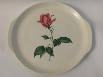 Betsy Rose vintage Harmony House Sears china pink roses tray w/ handles