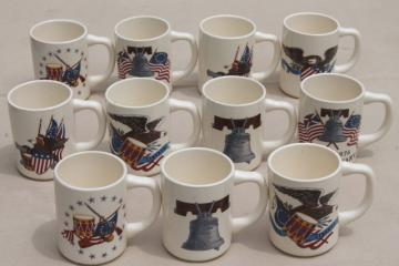 Bicentennial vintage USA patriotic mugs, ceramic coffee cups w/ American flags & emblems