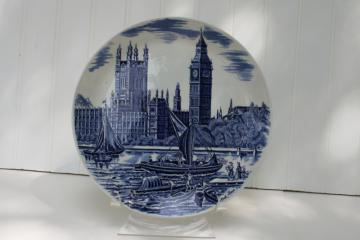 Big Ben London souvenir plate vintage blue & white transferware Johnson Bros china