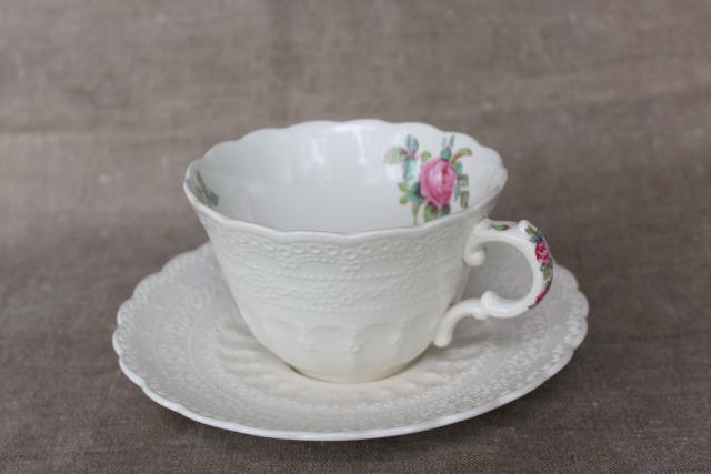 Billingsley Rose vintage Spode Jewel china tea cup & saucer, backstamp w/ patent date