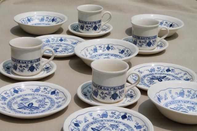 Biltons - England blue onion vintage china breakfast dishes set, tea ...