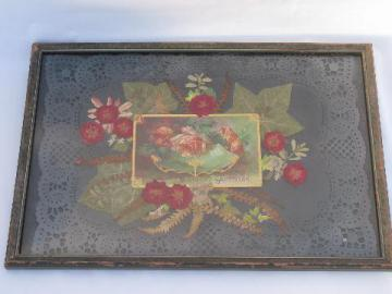 Birthday Greetings, framed antique postcard set on paper lace & pressed flowers