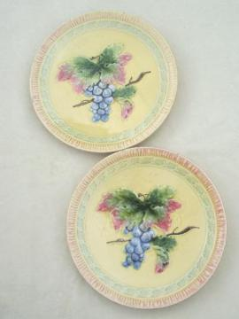 Black Forest art pottery plates, shabby vintage majolica plates w/ grapes
