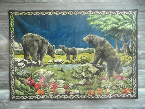 Black Bears Vintage Tapestry Plush Cabin Lodge Wall Hanging