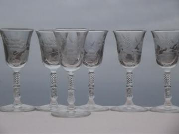 Blossoms Libbey Rock Sharpe cordial glasses, tiny vintage wine goblets