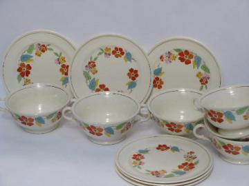 Blossomtime vintage USA china, cream soup bowls or double handle cups