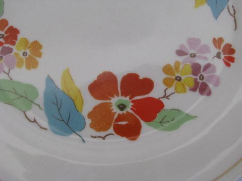 Blossomtime vintage USA china, orange flowers bright leaves, 6 plates