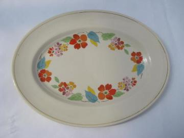 Blossomtime vintage USA china, orange flowers bright leaves, big platter