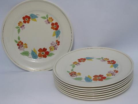 Blossomtime vintage USA china, orange flowers bright leaves, dinner plates