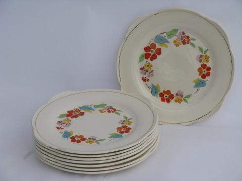 Blossomtime vintage USA china, orange flowers bright leaves, salad plates