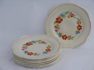 Blossomtime vintage USA china, orange flowers bright leaves, salad plates