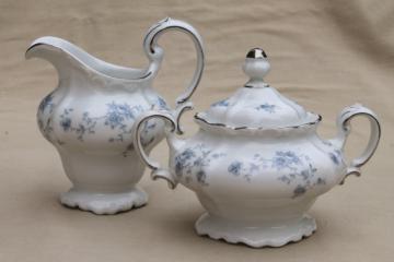 Blue Garland china cream pitcher & sugar bowl, vintage Bavaria mark Johann Haviland