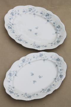 Blue Garland china oval platters, vintage Bavaria mark Johann Haviland