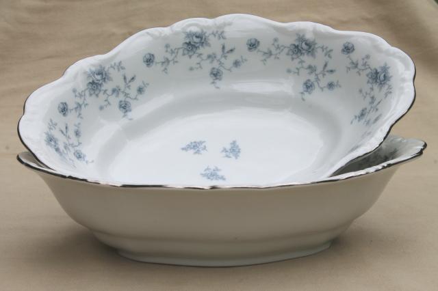 blue garland china oval vegetable serving bowls vintage bavaria mark johann haviland. Black Bedroom Furniture Sets. Home Design Ideas