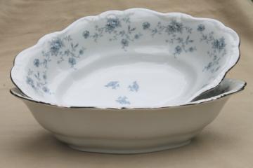 Blue Garland china oval vegetable serving bowls, vintage Bavaria mark Johann Haviland