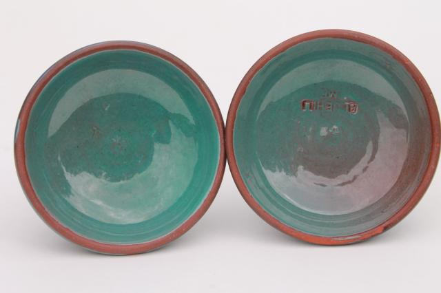 Blue Hill Maine Rackliffe Rowantree pottery pair low candle sticks, blue ombre color glaze