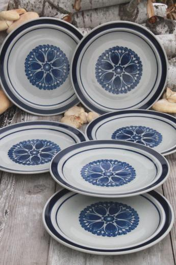 Blue Monterrey stoneware dinner plates set of 6 vintage Japan dinnerware & Blue Monterrey stoneware dinner plates set of 6 vintage Japan ...