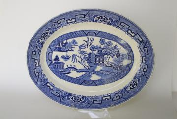 Blue Willow china platter or tray, vintage blue & white transferware chinoiserie
