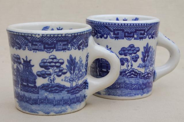 Blue Willow Pattern Coffee Mugs Vintage An White China Ceramic Cups