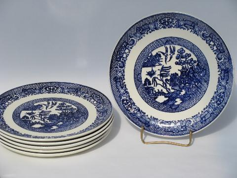& Blue Willow pattern vintage china dishes lot of 6 dinner plates