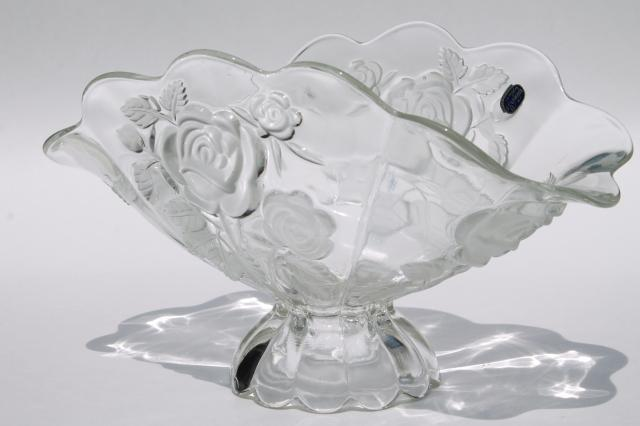 Bohemia Glass Frosted Crystal Rose Pattern Fan Shape Bowl