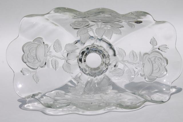 Bohemia Glass Frosted Crystal Rose Pattern Fan Shape Bowl