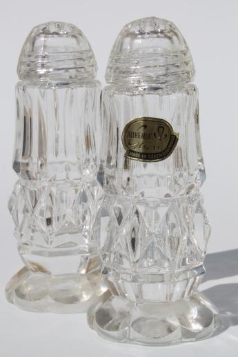 Bohemia Crystal Salt Pepper Shakers W Clear Glass Shaker Lids