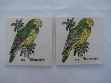 Bonaire ceramic tile pictures, caribbean tropical island parrots, retro beach