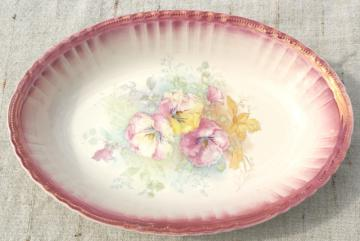 Bonn Germany antique luster iridescent china, large oval bowl w/ pansies