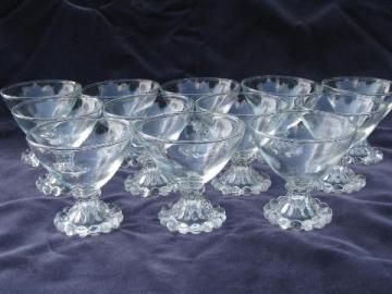 Boopie candlewick beads footed sherbet glasses, vintage Hocking glass